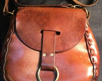 Vintage handmade leather purse hippie boho bag shoulder strap