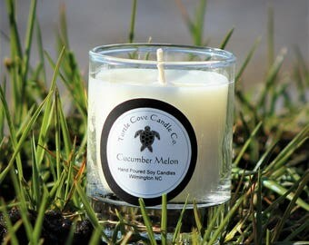 Cucmber Melon scented all natural  soy votive candle