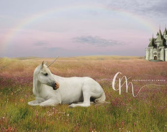 Unicorn and castle digital backdrop
