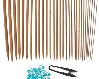 "Set of 12.5"" Single Point Bamboo Wood Knitting Needles, 15 sizes. 1 pair per size"
