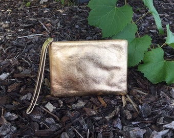 Small Leather Gold Pouch/Purse/Satchel