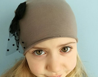 Fleece Cap with fiochetto polka dot tulle