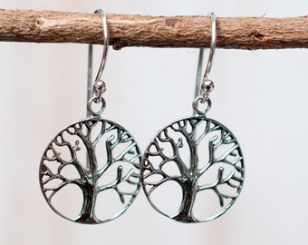 Tree of life ~ Family Tree ~ Sterling Silver 925 ~ Round Earrings ~ Handmade ~ Meaningful ~ Dangle ~ Everyday ~ Casual ~ Hippie ~ Boho ME004