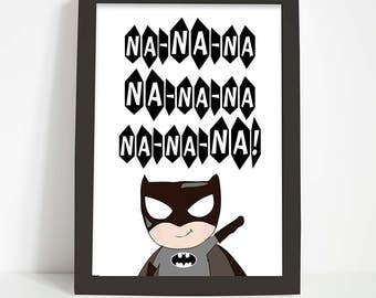 Batman print, Nursery print, Nursery wall art, Superhero print, Boys nursery decor, Boys bedroom decor