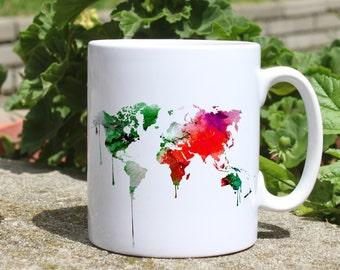 Colorful map mug - Map mug - Colorful printed mug - Tee mug - Coffee Mug - Gift Idea