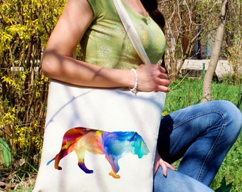 Lioness tote bag -  Lioness shoulder bag - Fashion canvas bag - Colorful printed market bag - Gift Idea