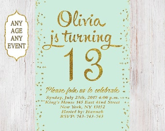 13th Birthday invitation birthday party invitations teen girl mint and gold, 14th,15th,16th,17th,18th,19th, Any Age 04