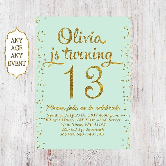 13th Birthday invitation birthday party invitations teen girl – Thirteenth Birthday Invitations