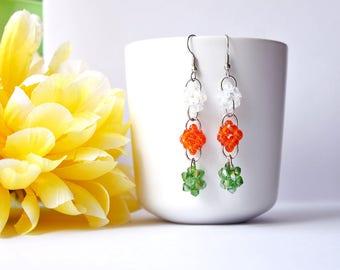 glass crystal pendant earrings - clear/orange/green beaded earrings - beaded bead - beadwork - beadwoven jewelry - by SoniaMalletCreations