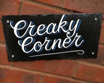House Sign, Slate Sign, Custom Slate Hand Painted House Sign - Creaky Corner