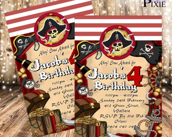 Ahoy Pirate - INVITATIONS  (Children's Birthday)
