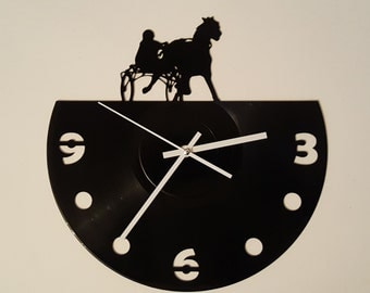Vinyl Clock harness racing, Christmas gift, Wall clock, vinyl record clock