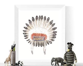 50% OFF Sale - Tribal Headdress Art Printable | Tribal Art | Native American Headdress | Native Art | Headdress | Indian Headdress