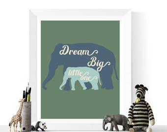 50% OFF Sale - Nursery Decor | Dream Big Little One Elephants Green & Blue Print | Printable | Baby Art | Nursery Printables