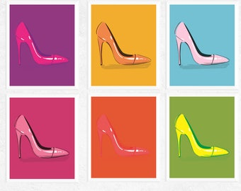 50% OFF Sale - Pop Art Shoes Art Printables | 6 Set | Pink, Blue, Orange, Yellow, Green, Purple | Pop Art | Contemporary Art | High Heels