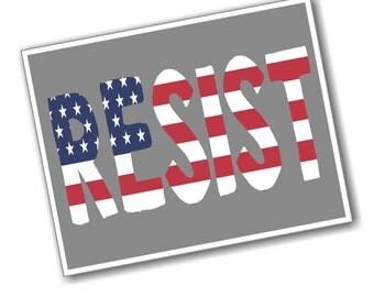 RESIST digital download PDF postcard - Red, White and Blue
