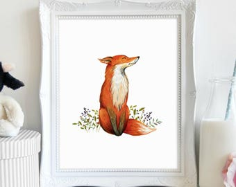 Fox Animal Wall Art, Woodland Baby Shower, Forest Animals, Baby Fox Printable, Forest Print Nursery, Printable Forest Art, Printable Art