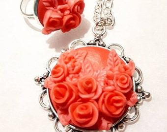 Red roses jewelry set ring + pendant made from polymer clay