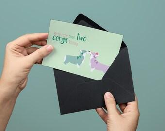 Corgi Kissing Card