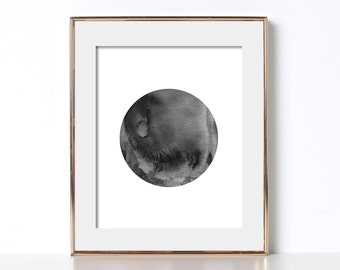 Watercolor Poster Watercolor Artwork Digital Download Black and White Printable Abstract Artwork Watercolor Circle Watercolor Artwork Print