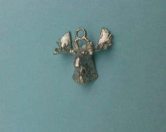 Sterling Silver Moose head Charm