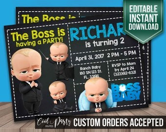 Boss baby invitation, Boss baby invite, Boss baby birthday invitation, Boss baby instant download, Boss baby invite, Boss baby DIY