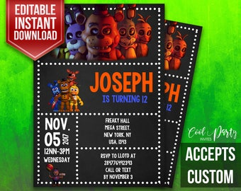 Five Nights at Freddys Invitation, FNAF Invite, FNAF Party, Spooky Invitation, FNAF Invitation,Horror, Friday Nights at Freddys