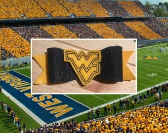 WVU Bow // Gold Flying WV // Mountaineer Bow