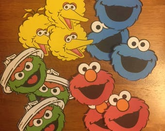 Sesame Street Toppers / Set of 12 / Big Bird / Oscar / Elmo / Cookie Monster