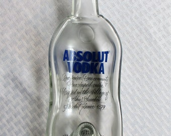 Absolute Vodka Bottle, melted bottle, slumped bottle, absolute vodka, spoon rest, melted glass, dining, barware, recycled glass, glass art