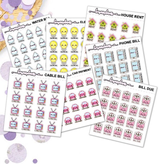Bill Due Stickers - planner stickers erin condren happy planner