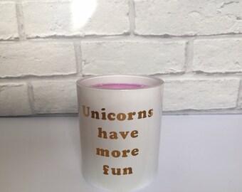 Handmade Soy Wax Candle Bubblegum Fragrance 'Unicorns Have More Fun'