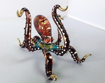 OCTOPUS Large Size Hand Blown Glass Color Paint Figurine Miniature Decorate Art