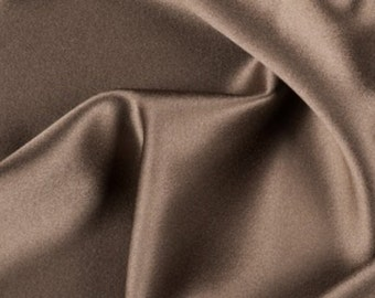 "100% silk charmeuse cafe brown 19mm  54"" width. per yard"
