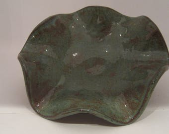 Hand Built Pottery Wave Bowl