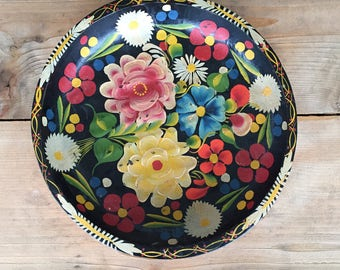Hand painted wooden bowl, Floral, Boho