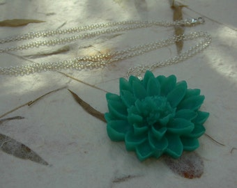 Resin Flower Pendant with 925 silver Chain, teal necklace, teal pendant, teal flower necklace, sterling silver chain, gift for women