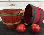Pair of Vintage Apple Picking Baskets with Wooden Handles Perfect for Blog Photography Props and Styling