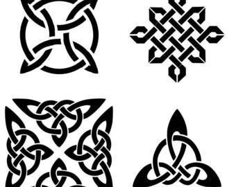 Four classic Celtic knot stencils
