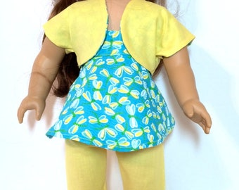 18 Inch Doll Clothes 3-Piece Capri Outfit W/Yellow and Turquoise Print And Optional White Shoes Also Fit American Girl Doll Clothes