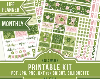 Erin Condren Monthly Kit, ECLP March Stickers, Monthly View Sticker Kit, Floral Planner Stickers, St. Patrick's Day, Cricut, 17017