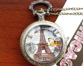 Watch Necklace Vintage Locket Pendant Watch Bronze Hipster Cute Paris Paris