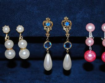 Vintage Treasures Clip On Pearl Like and Blue Jeweled Earrings Easter Pink White
