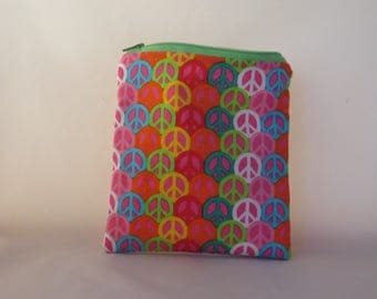 Pink Peace Snack Bag, Reusable Pouch, Purse Organizer, Cosmetic Bag, Snack Pouch