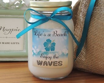 Custom Soy Candle//Vibrant Custom Label//Matching Satin Ribbon//Personalized Gifts//Life's a Beach Enjoy the Waves