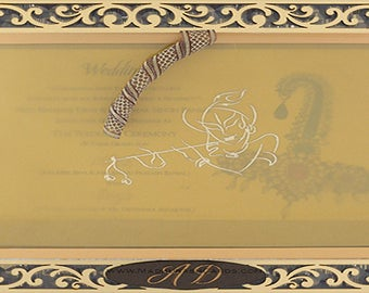 100 Personalised Custom Laser Cut Luxury Royal Gold Acrylic Pertex Sikh Hindu Muslim Indian Wedding Invitations Invites Cards