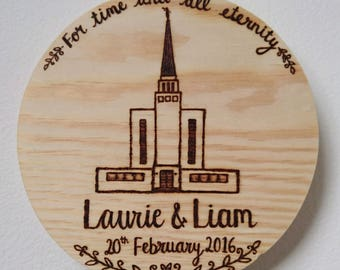 Personalised Woodburned Pine Round // Custom Made // LDS Temple Sealing // LDS Wedding // Mormon // Wedding Gift // Anniversary Gift