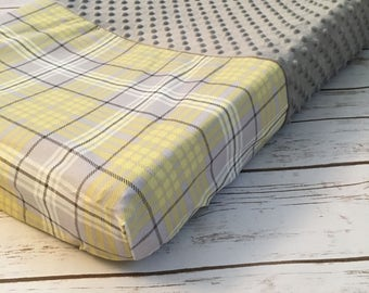 Gray/Yellow Plaid Changing Pad Cover
