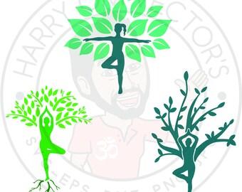 Tree Pose vectors, yoga silhouettes, yoga pose, Vriksasana,  SVG, DXF for Silhouette Cameo or Cricut, Illustration, Clipart