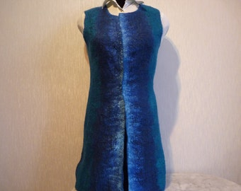 Nuno felted vest, felted waistcoat, Blue vest, Sleeveless Felt Jacket, merino wool vest, nuno felt clothing, wearable fiber art, Size S/M